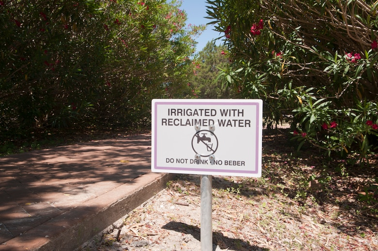 A sign states the area is irrigated with reclaimed water at the Air Park on Hurlburt Field, Fla., June 4, 2013. Signs have been posted in locations throughout Hurlburt Field where the reclaimed water will be used (U.S. Air Force photo by Airman 1st Class Jeffrey Parkinson)