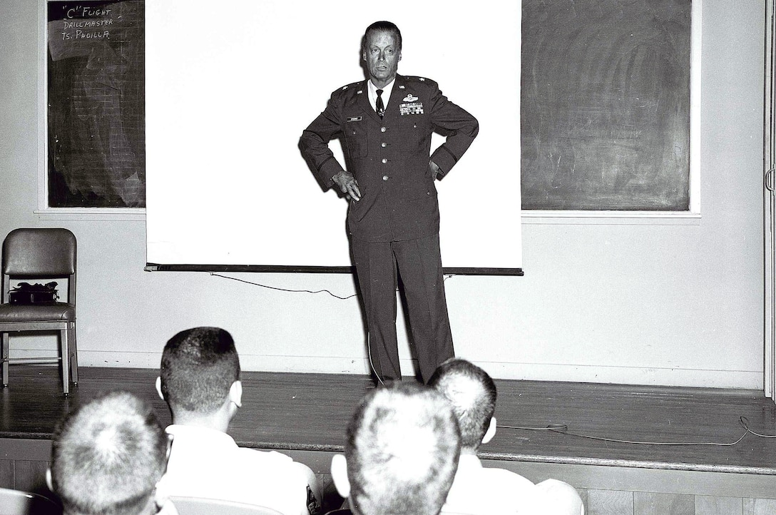 MCGHEE TYSON AIR NATIONAL GUARD BASE, Tenn. – U.S. Air National Guard Brig. Gen. William W. Spruance lectures students here at the I.G. Brown Training and Education Center. Spruance was a strong supporter of the Center, of which its multi-media building, Spruance Hall, was dedicated in his name. After surviving a fiery crash as a passenger in a T-33 in 1961, he made thousands of presentations on flying safety and crash survival and continued his lifelong support of aviation education and Air National Guard service. Spruance died Jan. 15, 2011. (U.S. Air National Guard file-photo/Released)