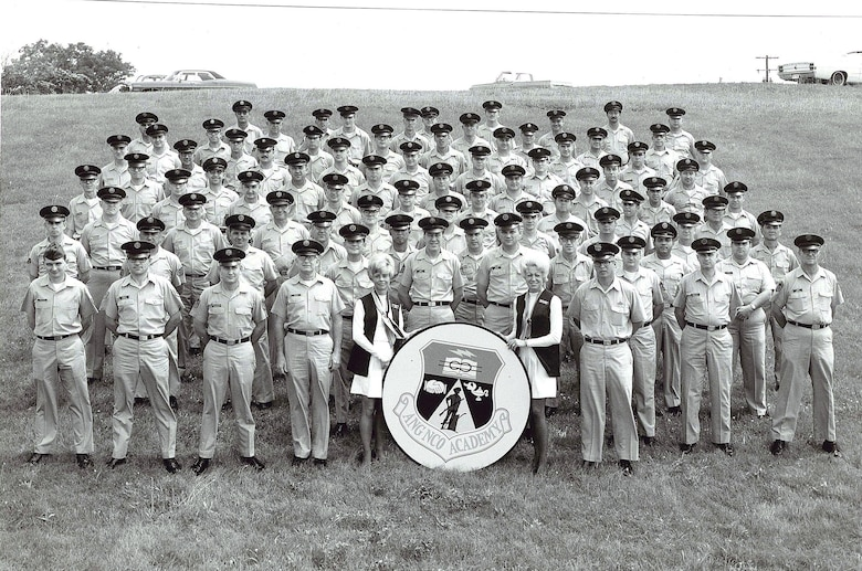 MCGHEE TYSON AIR NATIONAL GUARD BASE, Tenn. – Students, administrators and instructors are pictured in an early class photo here of the Air National Guard's Noncommissioned Officer Academy at the I.G. Brown Training and Education Center. The Center's first program of instruction began in 1968. Many early class and flight photos were taken on the hill at McGhee Tyson ANGB. (U.S. Air National Guard file-photo/Released)