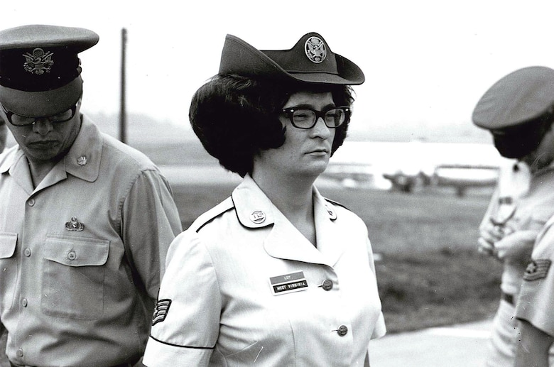 MCGHEE TYSON AIR NATIONAL GUARD BASE, Tenn. – U.S. Air National Guard Noncommissioned Officer Academy student, Staff Sgt. Mary Ellen Loy, gets inspected by Col. Edmund Morrisey, then head of the I.G. Brown Training and Education Center here, 1968-1983. Loy graduated to later earn recognition as one of the Air Guard's and the U.S. Air Force's first woman Outstanding Airmen of the Year. In its early beginnings, Women in the Air Force, or active duty WAF's, first attended the Center.  Later, women attended on the same status as men after the WAF's were abolished in 1976, the same year the Air Force Academy begin accepting females.  (U.S. Air National Guard file-photo/Released)