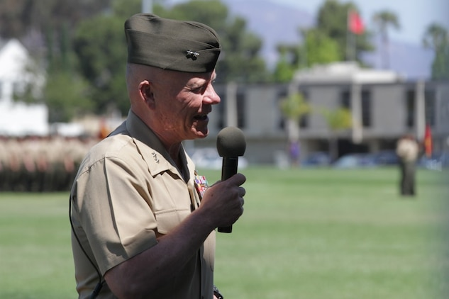 Major Gen. Lawrence D. Nicholson, the new commanding general of 1st Marine Division, speaks to the Marines and sailors of the division during a change of command ceremony  here, June 10, 2013. Major Gen. Nicholson, a native of Toronto, Canada, said he will carry on the high standards of the commanding generals who served before him.
