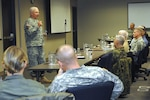 Lt. Gen. William Webster, deputy commander of U.S. Northern Command, talks with senior enlisted leaders who visited North American Aerospace Defense Command and USNORTHCOM this week as part of the Keystone course.