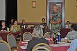 Air Force Maj. Gary Frunz, U.S. Northern Command's interim joint regional medical plans and operations officer for FEMA Region 8, discusses the mental health consequences of a potential pandemic flu at the Continental Divide Disaster Behavioral Health Conference in Colorado Springs, Colo., on July 10, 2008.