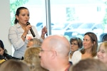 Dr. Yessica Chaparro, Deputy Director of Emerging and Reemerging Diseases in the Emergency Health Department of Mexico's Ministry of Health, discusses government actions during a hypothetical pandemic influenza in North America during U.S. Northern Command's Trinational Pandemic Influenza Tabletop Exercise and Seminar in Colorado Springs, Colo., on June 16, 2008.
