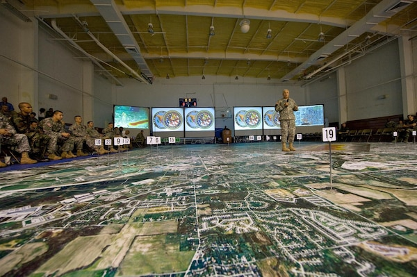 Chief of Staff of the Army Gen. George W. Casey Jr. speaks during a chemical, biological, radiological, nuclear and high-yield explosive incidents consequence management response force exercise at Fort Stewart, Ga., Sept. 14, 2008. The exercise is designed to educate key leaders and staff on the response environment and to train them to work together as a joint team.