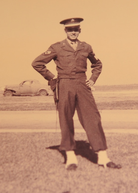 Dock Harris, a 32-year volunteer at the base pharmacy, is pictured in his Army Air Corps uniform in 1949. Harris served 13 years in the military before he was injured in Korea in 1951. (courtesy photo)