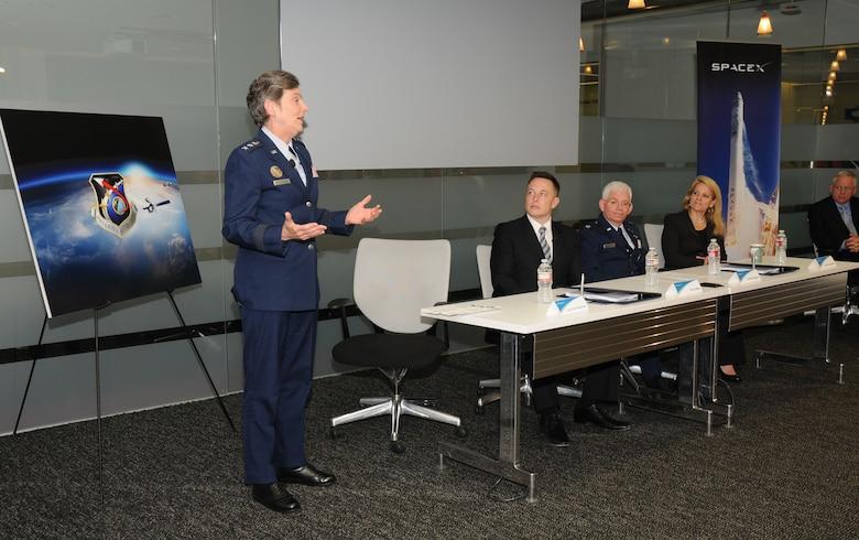 Lieutenant General Ellen Pawlikowski, SMC commander, speaks at the Cooperative Research and Development Agreement signing ceremony, June 7. (Photo by Joe Juarez)