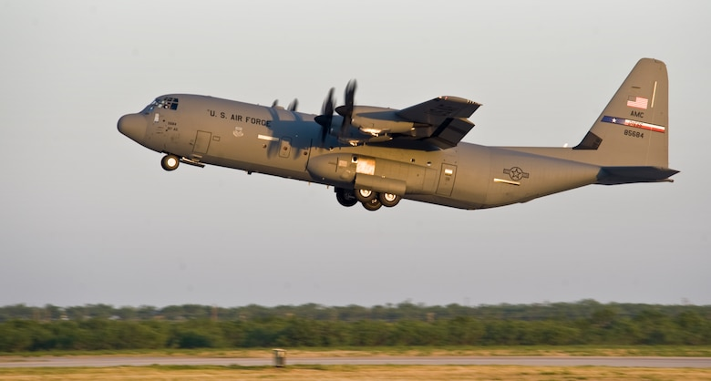 A 317th Airlift Group (AG) C-130J takes off, headed to Pope Army Airfield, N.C., in support of the Denton Program June 4, 2013, at Dyess Air Force Base, Texas. The Denton Amendment allows the U.S. military aircraft to transport, on a space-available basis, humanitarian supplies from non-government organizations to people around the world who are in need of assistance.  The 317th AG transported the supplies to Pope Army Airfield, N.C., where it will be taken to Joint Base Charleston Air Base, S.C., and then to Afghanistan. The supplies were donated by Global Samaritan Resources. (U.S. Air Force photo by Senior Airman Jonathan Stefanko/Released)
