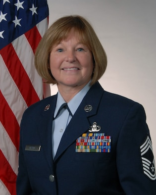 Official photo of Chief Master Sgt. Sue Thario. (U.S. Air National Guard photo by Senior Master Sgt. David Hawkins/Released)
