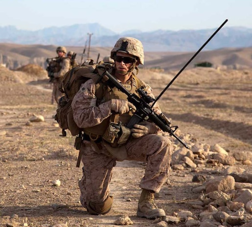 U.S. Marine Corps Capt. Paul Gates, commanding officer, Weapons Company, 3rd Battalion, 4th Marine Regiment, pauses during a dismounted patrol with Afghan National Civil Order Policemen during Operation California in Kajaki district, Helmand province, Afghanistan, April 28, 2013. He is wearing the Marine Corps combat utility uniform with its unique Marine digital pattern. Marine Corps Systems Command and the Army Natick Soldier Research, Development and Engineering Center received the 2013 Millson Award from the American Association of Textile Chemists and Colorists for the uniform's design and innovations.