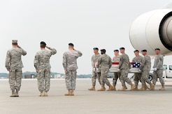 A U.S. Army carry team transfers the remains of Army Lt. Col. Todd J. Clark of Evans Mills, N.Y., at Dover Air Force Base, Del., on June 12, 2013. Clark was assigned to the Headquarters and Headquarters Company, 2nd Brigade Combat Team, 10th Mountain Division, Fort Drum, N.Y. (U.S. Air Force photo/Roland Balik)