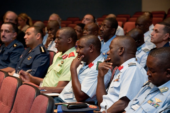 Maxwell AFB, Ala. –African officers listen to Maj. Gen Donald C. Ralph, Mobilization Assistant to the Commander, U.S. Air Forces Europe; U.S. Air Forces Africa, Commander Air Component Command, Ramstein Air Base, Germany provide the keynote address to the AFRICOM symposium attendees at Air War College, Jun 11, 2013.  The AFRICOM Symposium is an event designed to bring together military members of African nations to build relationships and partnerships with members of other African countries. Many of the attendees are previous graduates from the US Air Force's Air Command & Staff College and/or Air War College.  (US Air Force photo by Melanie Rodgers Cox/Released)