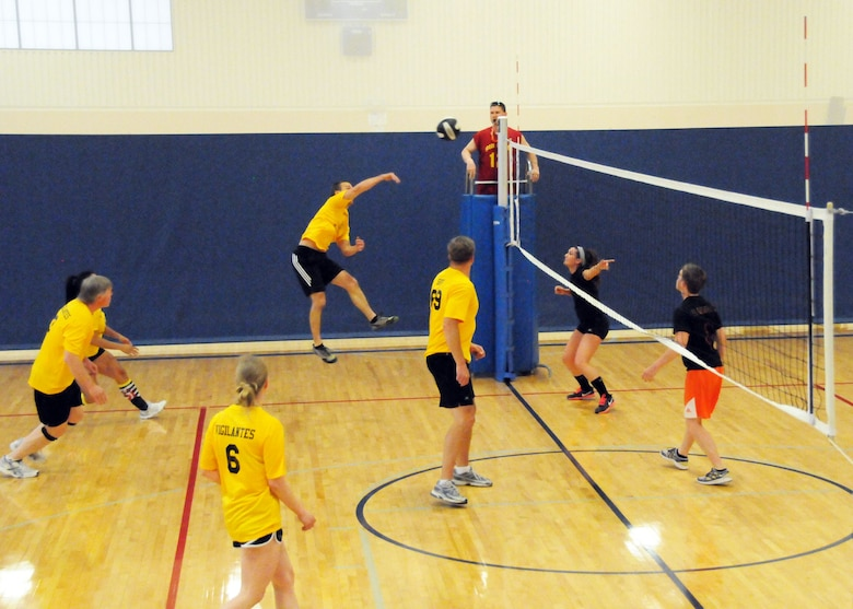 Tech. Sgt. Mark Bruggeman spikes a ball to the opposing team in the final Montana Air National Guard Vigilantes volleyball game played during season playoffs held at the Malmstrom Fitness Center on May 14, 2013. (U.S. Air Force photo/Senior Master Sgt. Eric Peterson)