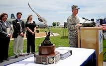 Gen. Paul Selva, Air Mobility Command commander, thanks members of the local community for the support they have given over the years during a ceremony June 11, 2013 at Scott Air Force Base Ill. The local communities were award the Abilene Trophy for their support of the base. This was the first time since the awards creation that the communities around Scott have earned the award. (U.S. Air Force photo/ Staff Sgt. Ryan Crane)