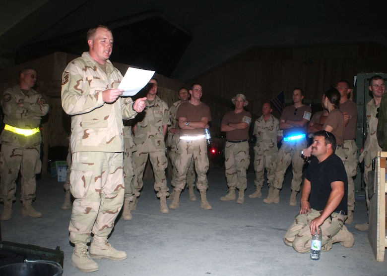 Then Master Sgt. Bob Reiman conducts a meeting with members of the Montana Air National Guard's 120th Fighter Wing during a deployment to Iraq on July 13, 2004. Reiman served as the first sergeant during the deployment. (U.S. Air Force photo/Senior Master Sgt. Eric Peterson)
