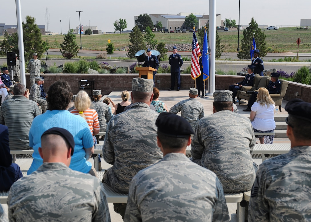 Maj. Nicholas Musgrove, 460th Logistics Readiness Squadron commander, talks to attendees of the 460th LRS change-of-command ceremony June 13, 2013, on Buckley Air Force Base, Colo. Musgrove assumed command from Lt. Col. John Gustafson. (U.S. Air Force photo by Staff Sgt. Christopher Gross/Released)