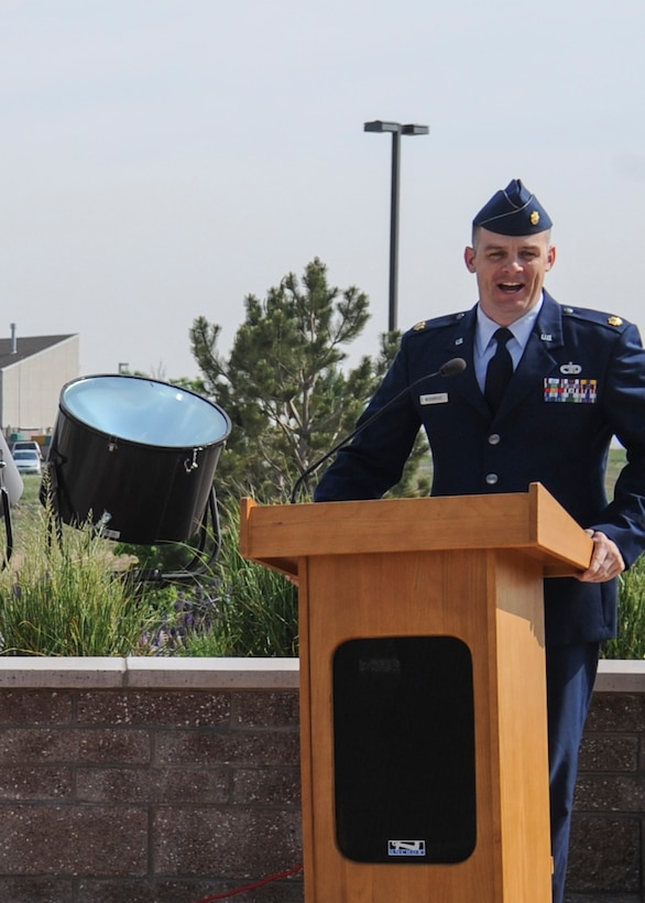 Maj. Nicholas Musgrove, 460th Logistics Readiness Squadron commander, talks to attendees of the 460th LRS change-of-command ceremony June 13, 2013, on Buckley Air Force Base, Colo. Musgrove has served 14 years as a logistician at the squadron, wing and staff levels. (U.S. Air Force photo by Staff Sgt. Christopher Gross/Released)