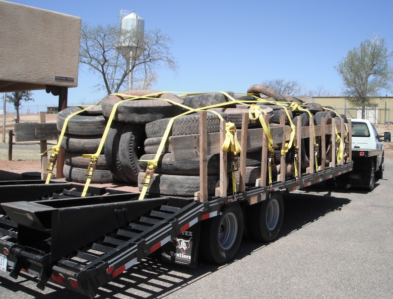CONCHAS LAKE, N.M., -- District staff have removed more than 560 tires from the lake.  Here, the first load of 75 tires weighing 8,560 pounds is ready to be disposed of.  The 