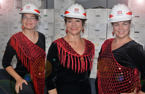 "Their choral concert in New York's Carnegie Hall was a world away from their daily mission with the U.S. Army Corps of Engineers Sacramento District, but both tasks could lead to a future in ""records."" From left to right are Robin Rosenau, Lynne Erickson and LaDonna Hulcy."