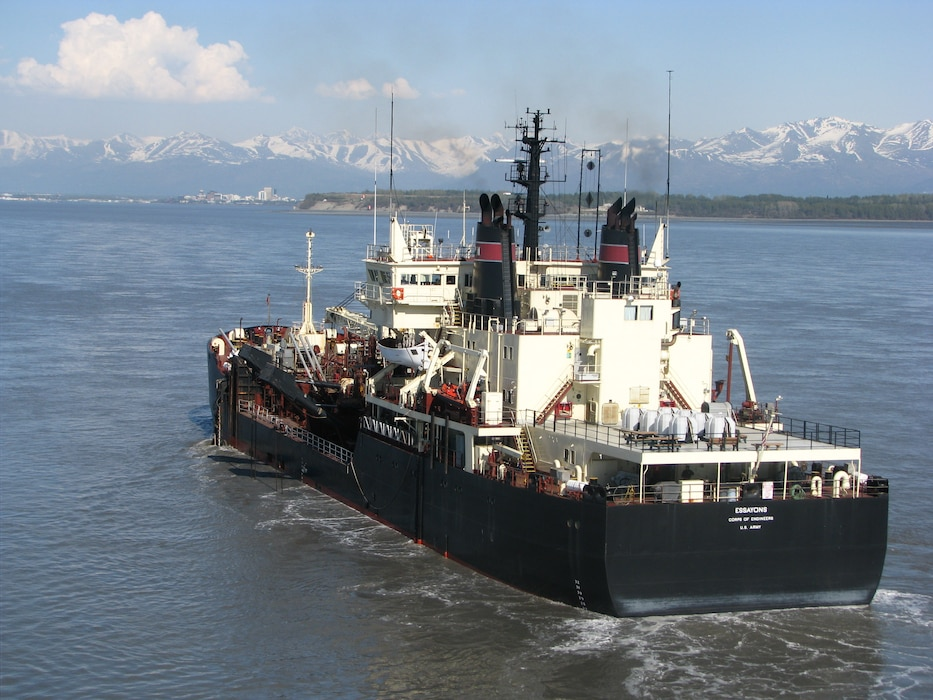 The Essayons travelled north to the Corps' Alaska District, to dredge the Cook Inlet Navigation Channel. A sudden surge of shoal material in the past two years reduced depths and affected navigation in the channel, which is the only Coast Guard marked route for all cargo and fuel ships supplying the Port of Anchorage.