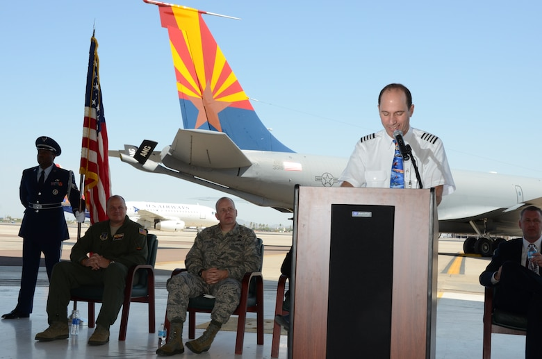 """The 161st Air Refueling Wing held a dedication ceremony for """"Spirit of Arizona"""" at Sky Harbor International Airport, June 14, 2013. Jeff Miller, Southwest Airlines Assistant Chief pilot, conveyed """"…the men and women of the 161st Air Refueling Wing and Southwest Airlines have forged a mutual relationship that continues to grow stronger with each passing year."""" (U.S. Air National Guard photo by Senior Airman Rashaunda Williams/Released)"""
