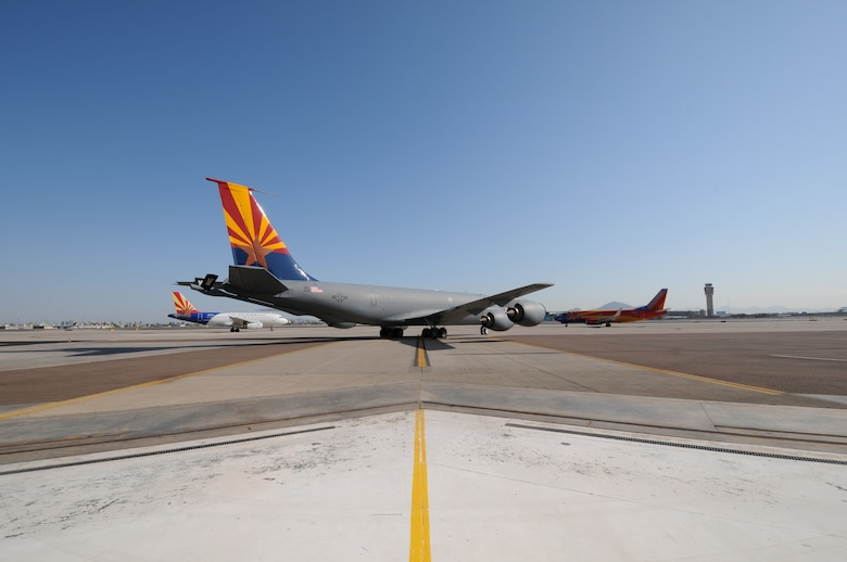 """The aircraft are all in place for the 161st Air Refueling Wing """"Spirit of Arizona"""" dedication ceremony at Sky Harbor International Airport June 14, 2013. Other aircraft brought in for the ceremony included Southwest Airlines 737 """"Arizona"""" and US Airways A319 """"Arizona"""". (U. S. Air National Guard photo by MSgt Kelly M. Deitloff/Released)"""