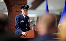 Col. David Almand, 375th Air Mobility Wing commander, gives his final speech to his Airmen during a change of command ceremony June, 14, 2013 at Scott Air Force Base, Ill. Col. Kyle Kremer, former vice commander at McConnell AFB assumed command of the 375th AMW. Almand was selected to take command of the 89th Airlift Wing at Andrews AFB. (U.S. Air Force photo/ Staff Sgt. Ryan Crane)