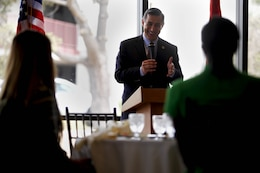 Congressman Darrell Issa speaks to three high school graduates, who have been nominated to attend a U.S. military academy, during the annual Academy Breakfast at the Pacific Views Event Center here June 15. Issa is the U.S. Representative for California's 49th congressional district.