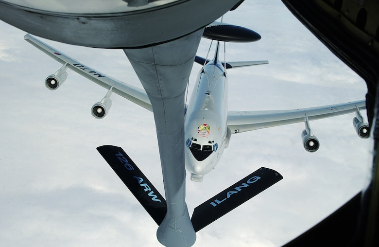 A NATO E-3A AWACS approaches a 126th Air Refueling Wing's KC-135E Stratotanker during an aerial refueling rendevous over Europe, June 28, 2007. (National Guard photo by Tech. Sgt. Mike Rice)