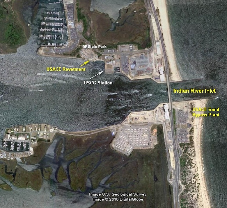 The Indian River Inlet & Bay project provides a safe navigation channel for commercial, recreational and U.S. Coast Guard use. Indian River Inlet is the only water access point into the Delaware Inland Bay area that includes Indian River Bay and Rehoboth Bay.