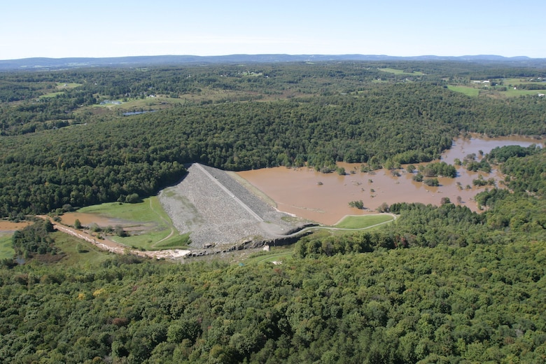 Jadwin Dam, located approximately three miles above the confluence of Dyberry Creek with Lackawaxen River, in Honesdale, Pa, experienced high water conditions following Hurricane Ivan in 2004.