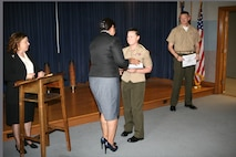 Gunnery Sgt. Crystal Hannan, intelligence chief with the Coordination, Liaison and Assessment Training team from Marine Corps Security Cooperation Group graduated from the Spanish language acquisition course at the Defense Language Institute (DLI) Foreign Language Center (FLC), Virginia Beach Training Detachment, June 7. Hannan is part of the CLAT team that supports U.S. Marine Corps Forces, South, area of responsibility.