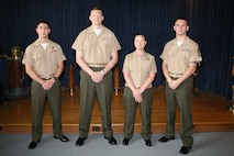 Four Marines from Marine Corps Security Cooperation Group (MCSCG) graduated from an initial language acquisition course at the Defense Language Institute (DLI) Foreign Language Center (FLC), Virginia Beach Training Detachment, June 7.From left to right: Staff Sgt. Timothy Lynch, Capt. Bryant Kruse, Gunnery Sgt. Crystal Hannan and Gunnery Sgt. Kevin Kearns.