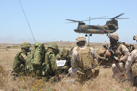 U.S. Marines from the 13th Marine Expeditionary Unit and Japanese Self-Defense Force soldiers go over maneuver tactics while conducting amphibious assault operations on San Clemente Island June 17, 2013.