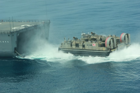A Japanese Navy Landing Craft Air Cushion (LCAC) disembarks from JS Hyuga while conducting amphibious assault operations off the coast of San Clemente Island June 17, 2013.