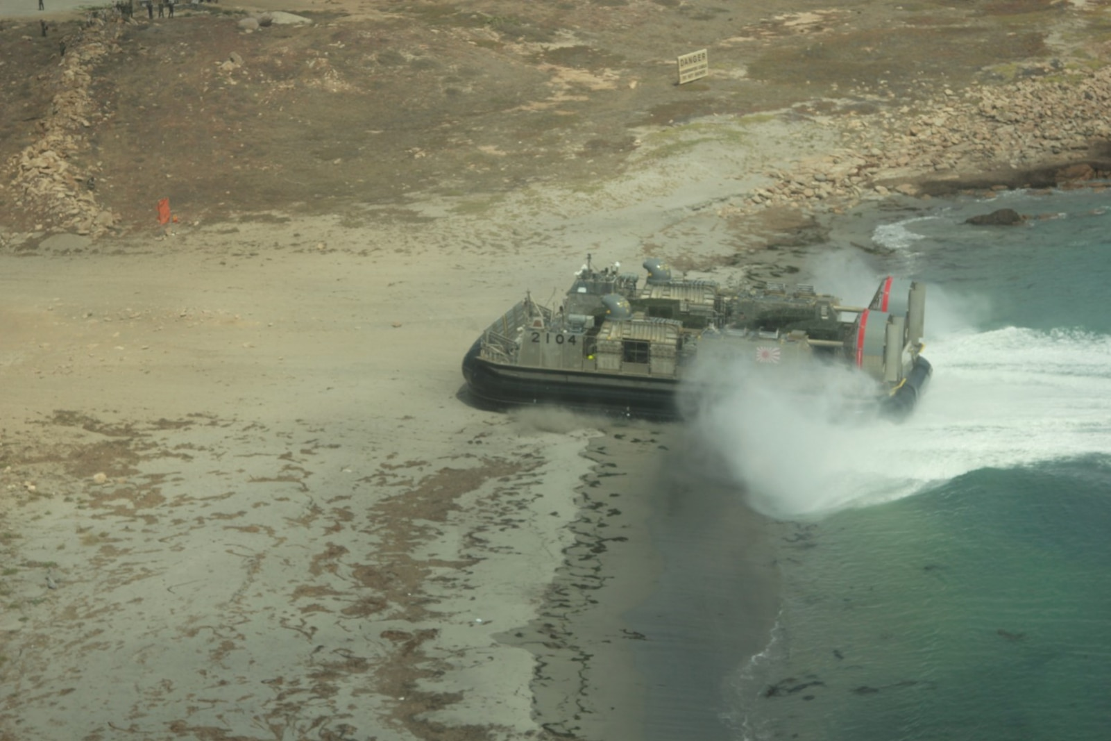 A Japanese Landing Craft Air Cushion (LCAC) conducts amphibious assault operations on the coast of San Clemente Island June 17, 2013.