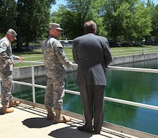 (r to l) Sgt. Maj. of the Army Raymond F. Chandler III visited the Washington Aqueduct to learn more about the USACE's unique and diverse mission, June 5. USACE Command Sgt. Maj. Karl J. Groninger accompanied Chandler on the tour and both were able to talk to District employees who ensure safe, drinking water for all of the District of Columbia, the City of Falls Church and Arlington County, Va.