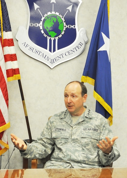 Lieutenant Gen. Bruce Litchfield, Air Force Sustainment Center commander,  stresses the need for greater awareness of the problem sexual assault poses for all Airmen and the mission during an interview at Tinker AFB on Monday. (U.S. Air Force photo by Micah Garbarino)
