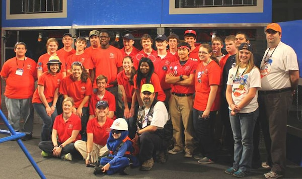 Robotics team members and adult mentors from Warren Central High School, St. Aloysius High School, Vicksburg High School, and home schools.