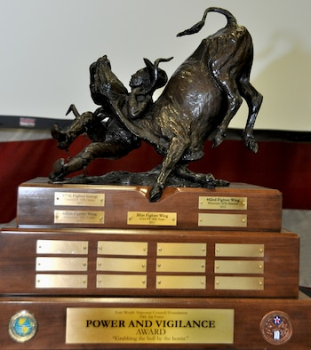 """This year's winner of 10th Air Force's Power and Vigilance trophy is the 442nd Fighter Wing at Whiteman Air Force Base, Missouri. This is only the four year this trophy has found a home, the first three winners being 477th Fighter Group, Elmendorf, Alaska, 482nd Fighter Wing, Homestead ARB, Fla., and the 301st Fighter Wing, NAS Fort Worth JRB. The Power and Vigilance Award is presented annually to the Tenth Air Force Air Force Reserve unit that exhibits the NAF mission as """"the premier provider of affordable, integrated, flexible, and mission-ready Citizen Airmen to execute power and vigilance missions in support of U.S. National Security. The symbolism of the bronze figure on the award says it all, """"grabbing the bull by the horns"""". (U.S. Air Force photo/Master Sgt. Julie Briden-Garcia)"""