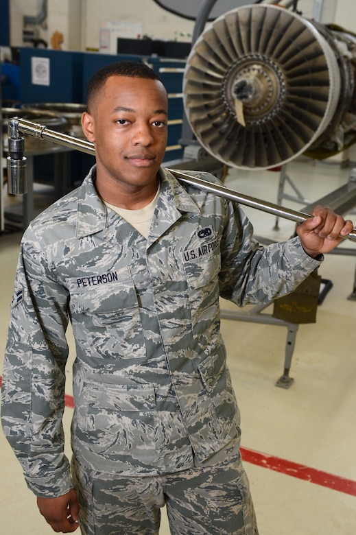 SPANGDAHLEM AIR BASE, Germany – U.S. Air Force Airman 1st Class Devin Peterson, 52nd Component Maintenance Squadron Propulsion Flight, is the Super Saber Performer for the week of June 20-26. (U.S. Air Force by Airman 1st Class Kyle Gese/Released)