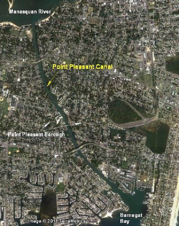 The location of the Point Pleasant Canal as part of the New Jersey Intracoastal Waterway project. The project provides a safe, reliable, and operational navigation channel for the East Coast's largest and 5th most valuable commercial fishing fleet in the U.S. (Cape May/Wildwood) and nine U.S. Coast Guard Stations including Cape May training base.