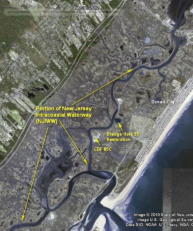 Completed in 1940, the existing New Jersey Intracoastal Waterway project provides for a channel through the inlet and outer bar, a channel extending in a northwesterly direction from the inlet gorge to the Oyster Creek channel and through the latter channel to deep water in the bay, and the maintenance of a channel 8 feet deep and 200 feet wide to connect Barnegat Light Harbor with the main inlet channel. In 1991, new design deficiency measures were constructed including:  a new south jetty parallel to the existing north jetty, a navigation channel 300 feet wide to a depth of 10 feet below mean low water from the outer bar in the Atlantic Ocean to the north end of the existing sand dike in Barnegat Bay, and jetty sport fishing facilities on the new jetty.
