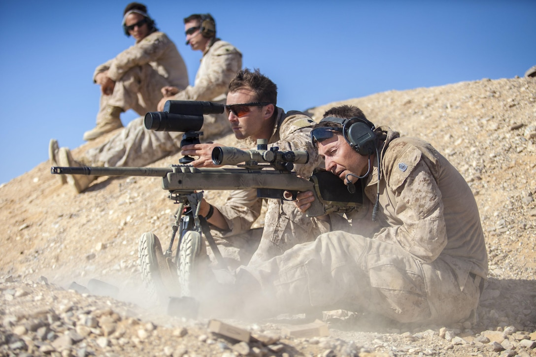 A 26th Marine Expeditionary Unit (MEU) Maritime Raid Force Marine fires an M40 sniper rifle at a range in Jordan, June 19, 2013. Exercise Eager Lion 2013 is an annual, multinational exercise designed to strengthen military-to-military relationships and enhance security and stability in the region by responding to modern-day security scenarios. The 26th MEU is a Marine Air-Ground Task Force forward-deployed to the U.S. 5th Fleet area of responsibility aboard the Kearsarge Amphibious Ready Group serving as a sea-based, expeditionary crisis response force capable of conducting amphibious operations across the full  range of military operations.(U.S. Marine Corps photograph by Sgt. Christopher Q. Stone, 26th MEU Combat Camera/Released)