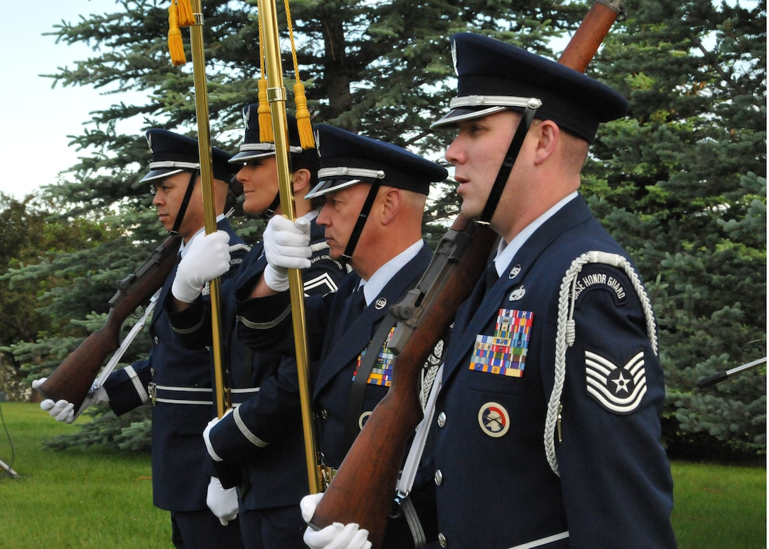 Members of the Montana Air National Guard Honor Guard served as the color guard for the Flag Day ceremony held at Broadwater Overlook Park in Great Falls, Mont., on June 14.  (Air National Guard photo/Senior Master Sgt.  Eric Peterson)