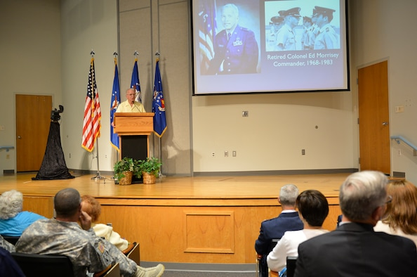 MCGHEE TYSON AIR NATIONAL GUARD BASE, Tenn. – Retired Col. Edmund C. Morrisey, first commander at the I.G. Brown Training and Education Center, 1968 – 1983, commemorates the TEC's 45th anniversary in front of former faculty and staff, their families and current staff members in Spruance Hall here, June 21, 2013. The I.G. Brown Training and Education Center provides professional military education which serves all of the nation's Air National Guard units as well as the total U.S. Air Force and U.S. Coast Guard. TEC's single mission remains timeless: to engage, educate and inspire leaders responsible for our nation's defense. (U.S. Air National Guard photo by Master Sgt. Kurt Skoglund/Released)