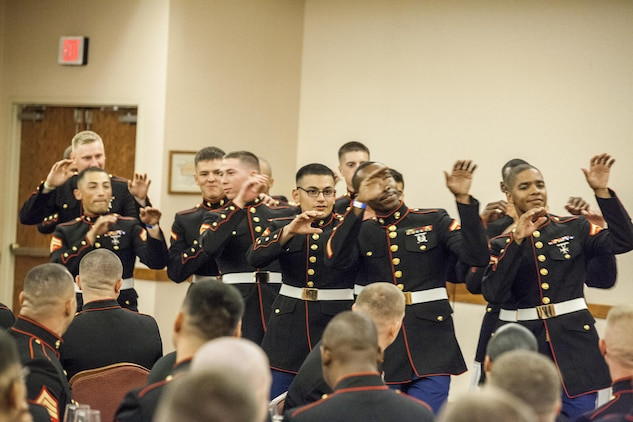 "Marines of Marine Air Control Squadron 1 dance to Michael Jackson's ""Thriller"" at the MACS-1 Mess Night on Marine Corps Air Station Yuma, Ariz., at the Sonoran Pueblo, June 7. The Mess Night is a Marine Corps tradition that brings a unit together for an evening of dining and camaraderie."