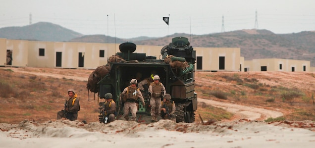 Marines and sailors from 2nd Battalion, 5th Marine Regiment, 3rd Assault Amphibian Battalion, and Naval Beach Group 1 conducted amphibious landings on Red Beach with Assault Amphibious Vehicles (AAV) and both U.S. and Japanese Landing Craft Air Cushions (LCACs) as a part of exercise Dawn Blitz, June 24. Dawn Blitz 2013 is an amphibious exercise testing U.S. and coalition forces in skills expected of a Navy and Marine Corps amphibious task force.