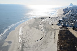 During Construction - The U.S. Army Corps of Engineers Philadelphia District pumped 667,000 cubic yards of sand onto the beach at Brigantine, NJ. Work was completed in February of 2013.