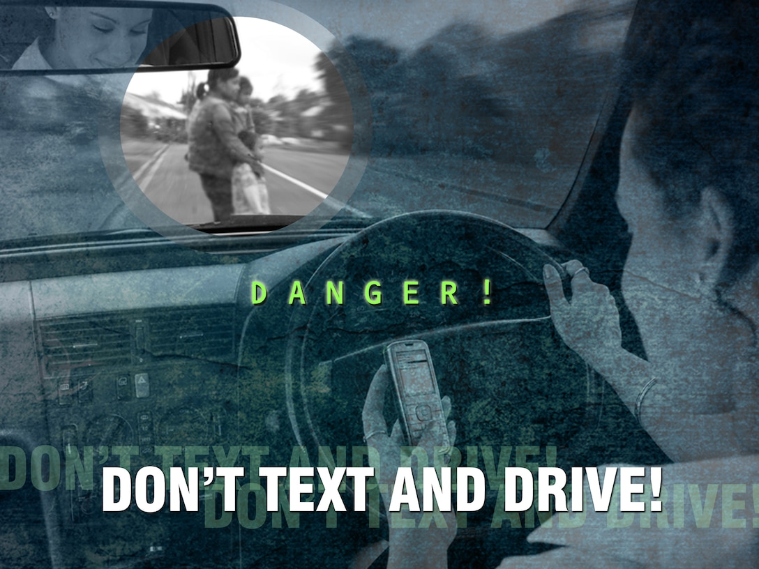 Kadena members are reminded to be good wingmen, lead by example and think twice before reaching for a hand-held device while driving. (U.S. Air Force graphic by Naoko Shimoji)